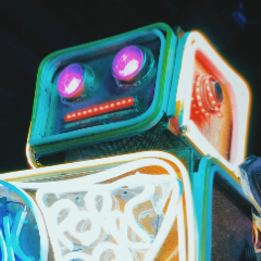 Close up of a neon robot's face