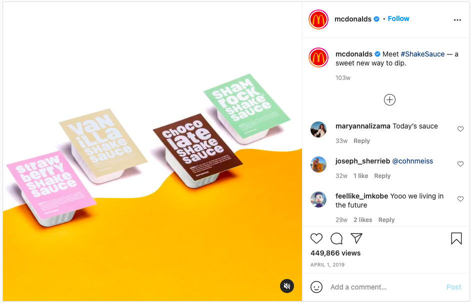 content marketing strategy example McDonald's sauces with milkshake names and colors