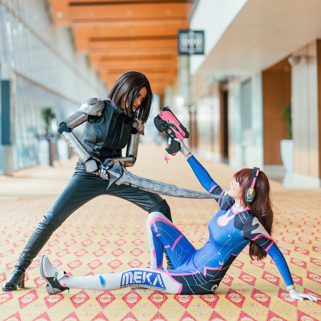 cosplay fight at convention center